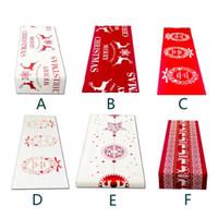 6 Stil Noel Keten Masa Örtüsü Noel Bayrağı Ev Partisi Dekoratif Elk Goblen Kırmızı Masa Koşucular Kapakları