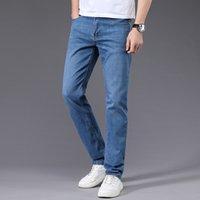 Kot Erkekler Düz Pantolon Erkek Yüksek Kalite Yumuşak Slim Fit İş Denim Tasarımcı Casual Biker Pantolon Pantalon Hombre Homme