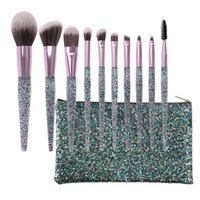 10Pcs Makeup Brushes Set with PU Bag Bling Foundation Eye Sh...