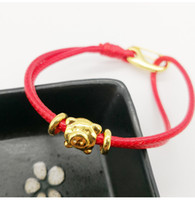 2019 Zodiac pig red rope bracelet gold- plated birth year lea...