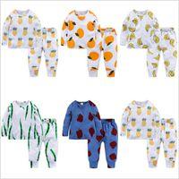 Çocuk Giysileri Bebek Payamas Moda Yaz Sleepsuits Ins Pamuk Gecelikler Uzun Kollu Pijama T Gömlek Pantolon Rahat Ev Giyim B4348 Suits