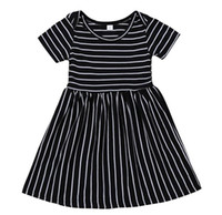 SUMMER baby striped dresses girls boutique clothing black an...