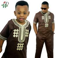 Etnik Giyim Afrika Çocuk Afrika Çocuk Boy Dashiki Gömlek Suits İki 2 Parça Set Çocuklar Kıyafet Yaz Riche Bazin Top Pantolon Setleri