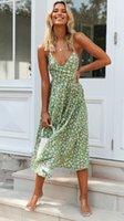 Kadınlar Çiçek Baskı Bohemian Plaj Elbise 2021 Yeni Bahar Yaz Seksi Spagetti Kayışı Rahat Parti Elbise Kadın Tatil Tarzı Deniz Elbiseleri