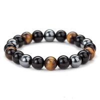 Natural Black Onyx con la pietra naturale ematite di pietra occhi di tigre in rilievo Strand Wrap Buddha BraceletsBangles gioielli e accessori
