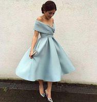 Modeste Parti Robe courte Off la longueur du genou épaule satin dos nu 2020 pas cher robe de demoiselle d'arabe Prom Cocktail Robes Custom Made