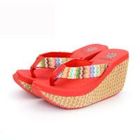 Zapatillas de jaycosin Sólido Color Cuña Flip Flaks Brillante Moda Mujer Tacón alto Slipper Plataforma a prueba de deslizamientos para mujer Zapatillas de mujer