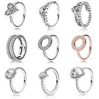 NEW 100% 925 серебро Пандора кольца моды Популярные Подвески Обручальное кольцо для женщин форме сердца Влюбленные Круглые кольца DIY ювелирные изделия