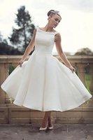 50s Vintage Breve Abiti da sposa Boat Neck ankle-lunghezza Misura A Linea Retro Abiti da sposa New Custom vestido de Noiva