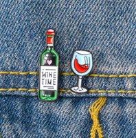 مصغرة لطيف النبيذ وكؤوس النبيذ زوجين دبابيس النبيذ الاحمر كوب زجاجة الزينة المينا دبوس شارة لمحبي أفضل صديق دبابيس GD189