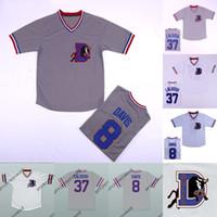 Mens Bull Durham # 8 Crash Davis # 37 Ebby 'Nuke' Laloosh 100% maillot de baseball cinéma cousu blanc gris blanc livraison rapide S-3XL