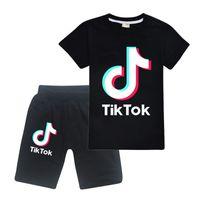 Set del capretto di modo maglietta del cotone di estate Tiktok Big Boy Casual Girl Tee + Shorts della mutanda 2pc Outfit bambini tuta copre il vestito