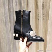 Martin Botas cortas 100% cinturón de vaca hebilla de cinturón de metal zapatos de mujer zapatos de mujer clásico tacones gruesos de cuero de piel de tacón de tacón alto perla de la señora de la señora tamaño grande 36-42 US4-US1