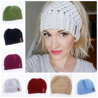 Ponytail Bonnet femme chapeaux d'hiver chaud élastique Bonnet Outdoor Lady Voyage Ski Beanie Cap ZZA931 Beanies