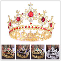 5 colors Crystal Queen Round Crowns Baroque Royal King Rhine...