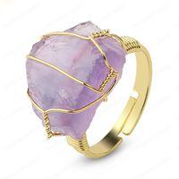Naturstein Unregelmäßige Draht-Verpackungs-Frauen-Ringe Healing lila Kristall Fluorit Goldfarbe Resizable Mode-Finger-Ring