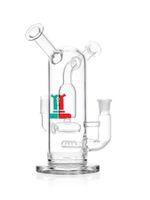 Двойной мундштук совместное стеклянные бонги нефтяной вышке курительная трубка с диффузором PERC стекла бонг суставов 14 мм переработчик нефтяной вышке