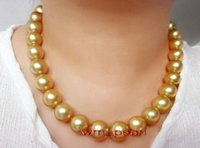 "Gioielli di perle sottili 17 ""12-14mm Real Round Round Sea South Sea Deep Golden Pearl Collana 14K"