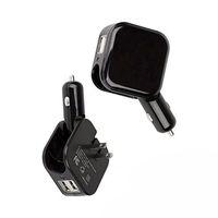 2en1 Cargador de pared compacta de coches convertidor doble puerto USB de 5V 2.1A de carga rápida adaptador casero plegable del recorrido del cargador de alimentación de CA / CC 25