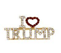 """TRIUNFO Rhinestones del cristal de diseño único Carta broches rojos del corazón Amor letra """"I"""" Trump Palabras Pin Mujeres Niñas casaca GD30 joyería"""