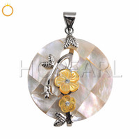 White Shell Mosaic Pendant with Yellow Flowers Handcrafted N...