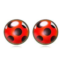 Ladybug Stud orecchini Cosplay Lady Bug Circle con Dot Animal Orecchini per le donne Girl Party regalo Anime Jewelry