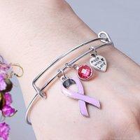 Rosa Band-Brustkrebs-Charme-Armband-justierbare Liebes-Herz-Armband-Armband für Frauen Pflege Survivor Schmuck Geschenke