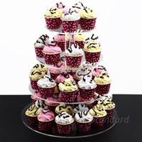 컵 케이크 스탠드 4 계층 - 크리스탈 아크릴 웨딩 케이크 트리 - 라운드 모양의 케이크 장식 도구 스탠드