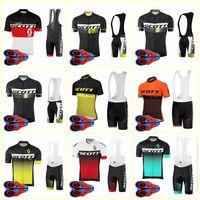 Scott Team Ciclismo Mangas Curtas Jersey Bib Shorts Conjuntos de Bicicleta Nova Respirável Hot Respirável e Rápido Ropa Ciclismo U82225