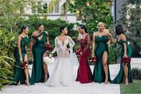 Elegante barato una línea de dama de honor dressese cuatro estilos de la longitud del piso del hombro con la split sexy criada de vestidos de honor vestidos formales