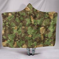200 * 150cm Kamuflaj Battaniye Askeri Baskı Kapşonlu Battaniyeler 3D Kış Yumuşak Sıcak Sherpa Fleece Cloak Kamp Havlu 10style GGA2894 atın