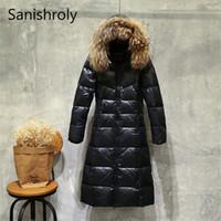 Collar Sanishroly Nueva invierno las mujeres grandes de la piel de la capa encapuchada del Espesar pato blanco abajo chaqueta Parka Mujer largo prendas de vestir exteriores más el tamaño T191125