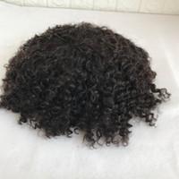 Volle PU Toupee Afro Curly Durable Volle Pu Afro Curly Männer Toupee 8 * 10 Zoll hohe Qulity # 1B Männer Perücke Ersatzsystem