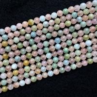 """Genuine Natural Multicolore Verde Rosa Blu Acquamarina Beryl Morganite Rotonda Larga Pietra Preziosa Braccialetto Braccialetto Perline 8mm 15.5 """"05974"""