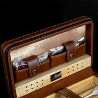 커터 가벼운 4 담배를 저장할 수와 하이 엔드 품질 브라운 컬러 가죽 삼나무 시가 휴 미더