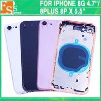 Düğme + SIM Tary ile 50pcs Arka Kapak iPhone 8 8g 8 Artı Konut Pil Kapağı Arka Kapı Orta Çerçeve Şasi Montaj Parçaları