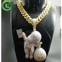 Iced Out Colgante Hip Hop Bling Chains Joyas Hombres Collar de oro Diseñador de lujo Diamante Enlace cubano Cartoon Mario Money Bag Rapero DJ Charms