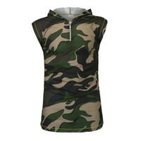Mens Camouflage stampa Gilet Giacche senza maniche di stampa patchwork normale Abbigliamento casual contrasto di colore maschile con cappuccio Top