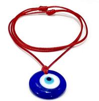 Vintage Blue Glass Mal Protection des yeux Collier Designer gothique Blessing Cordon Rouge Corde Wiccan Pendentifs Collier pour femmes Bijoux cadeau