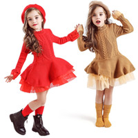 Hiver Baby Girl Robe Enfants Enfants Robes pour filles Christmason Fête Robe Tutu à manches longues Tricoté Toddler Girl Vêtements 8T