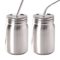 14 oz Mason JarステンレススチールウィズマスMason Jarsストローステンレス鋼の蓋の食品コンテナの飲料用の食品容器LJJK2207