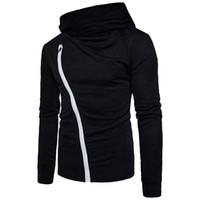 Designer Automne Hommes T-shirts à capuche solide diagonale Imprimé à manches longues couleur Zipper Tops Vêtements pour hommes Casual
