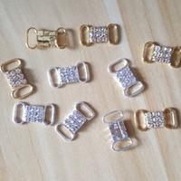 CJSIR 20PCS / الكثير سلسلة حجر الراين كريستال بيكيني موصلات مشبك معدني لملابس سباحة بيكيني الديكور
