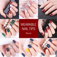 Falso 30PCS / Set ColorfulReusable destacável completa tampa de acrílico Nails Imprensa sobre unhas falsas Dicas Nails Art acessórios Ferramentas