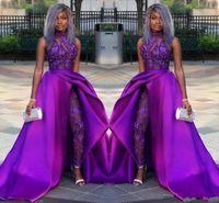 2020 Mor Tulumlar Balo Elbiseleri ile Ayrılabilir Tren Yüksek Boyun Dantel Aplike Boncuk Abiye giyim Lüks Afrika Parti Abiye