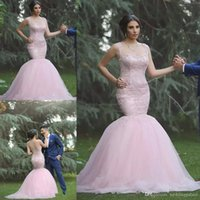 Latest Sweetheart Neck Pink Mermaid Wedding Dresses Chapel T...
