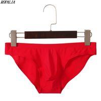 Men \ 'élastique de blanc transparent ultra-mince Underpants Slip respirant Ice Silk solide transparente à faible taille douce Sous-vêtements Nouveau