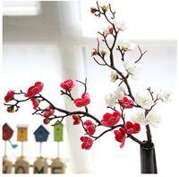7 adet / grup Kiraz Çiçekleri Yapay Ipek Çiçekler Plastik Kök Sakura Ağacı Şubesi Ev Masa Düğün Dekorasyon Masa Centerpieces Şube