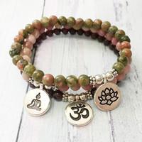 MG0481 High Quality 6 mm Natural Stone Yoga Bracelet Handmade Unakite Lotus Charm Bracelet Garnet Rhodonite Bracelet for Women