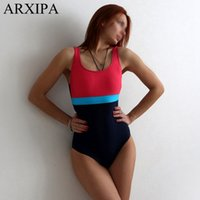 ARXIPA 2019 One Piece Costume da bagno sportivo Backless Donna Costume da bagno Training Costume da bagno Racing Patchwork Tuta intera Maillot Nuovo